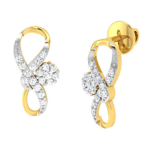 diamond studded gold jewellery - Zanna Earring Tops - Pristine Fire - 1