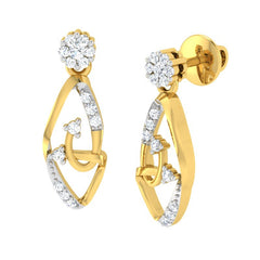 diamond studded gold jewellery - Linzee Dangler Earring - Pristine Fire - 1