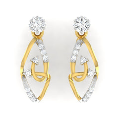 diamond studded gold jewellery - Linzee Dangler Earring - Pristine Fire - 2