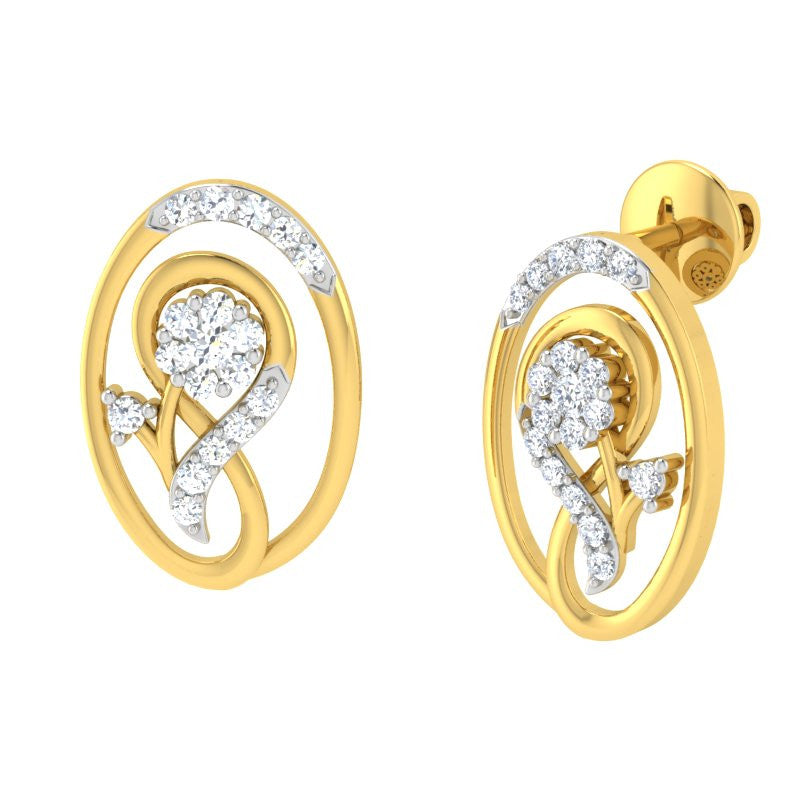 diamond studded gold jewellery - Lottie Earring Tops - Pristine Fire - 1