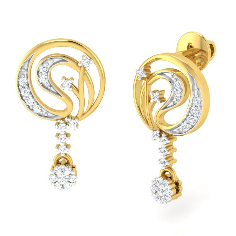 diamond studded gold jewellery - Ahava Dangler Earring - Pristine Fire - 1