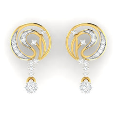 diamond studded gold jewellery - Ahava Dangler Earring - Pristine Fire - 2