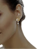 diamond studded gold jewellery - Ahava Dangler Earring - Pristine Fire - 4