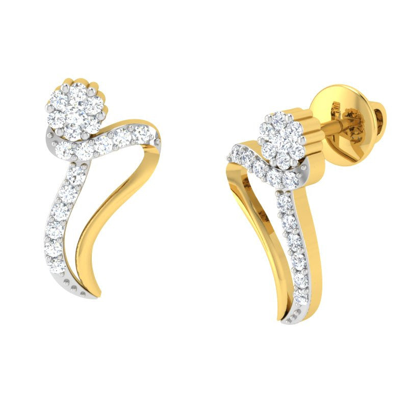 diamond studded gold jewellery - Indira Earring Tops - Pristine Fire - 1