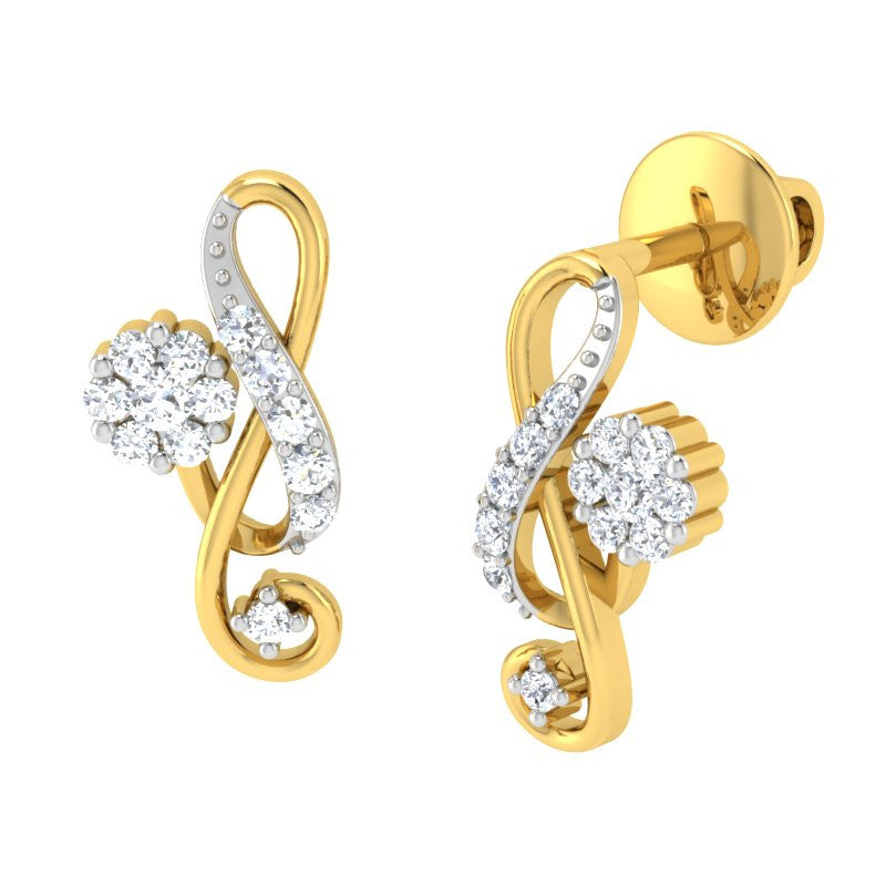 diamond studded gold jewellery - Agnes Earring Tops - Pristine Fire - 1
