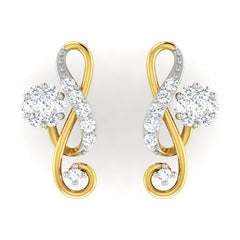 diamond studded gold jewellery - Agnes Earring Tops - Pristine Fire - 2