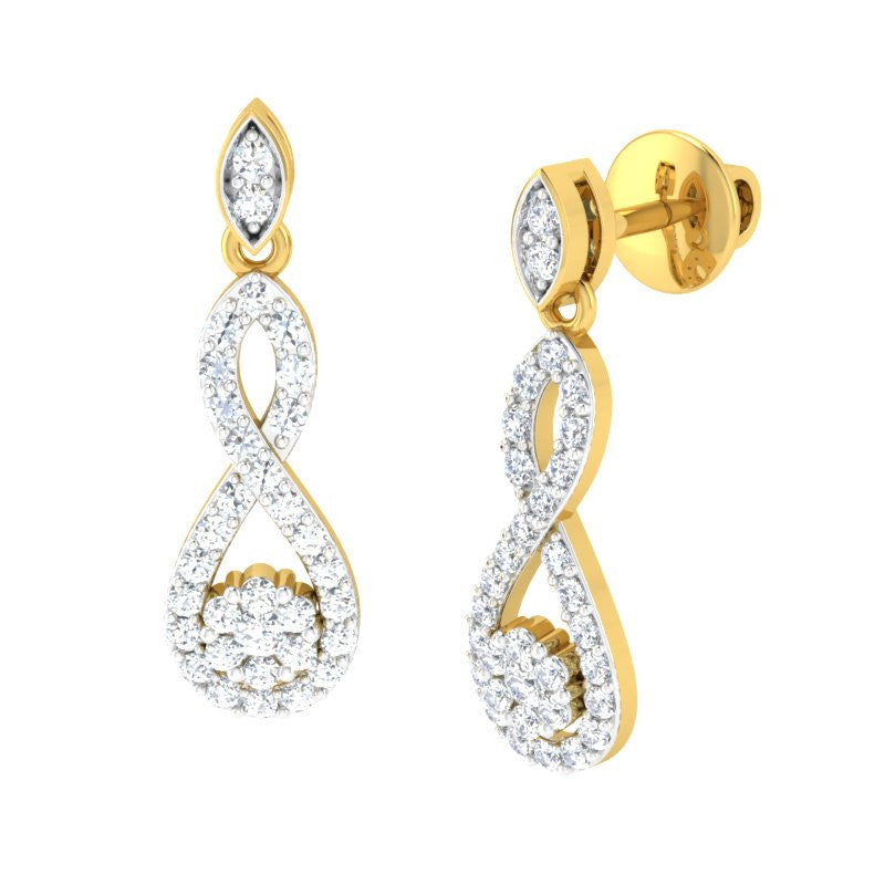 diamond studded gold jewellery - Infiniti Dangler Earring - Pristine Fire - 1