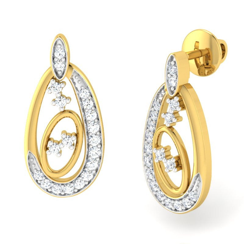 diamond studded gold jewellery - Jacobella Earring Tops - Pristine Fire - 1