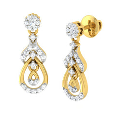 diamond studded gold jewellery - Manya Dangler Earring - Pristine Fire - 1