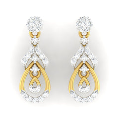 diamond studded gold jewellery - Manya Dangler Earring - Pristine Fire - 2
