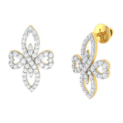 diamond studded gold jewellery - Evline Earring Tops - Pristine Fire - 1