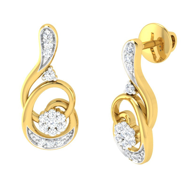 diamond studded gold jewellery - Liberta Earring Tops - Pristine Fire - 1