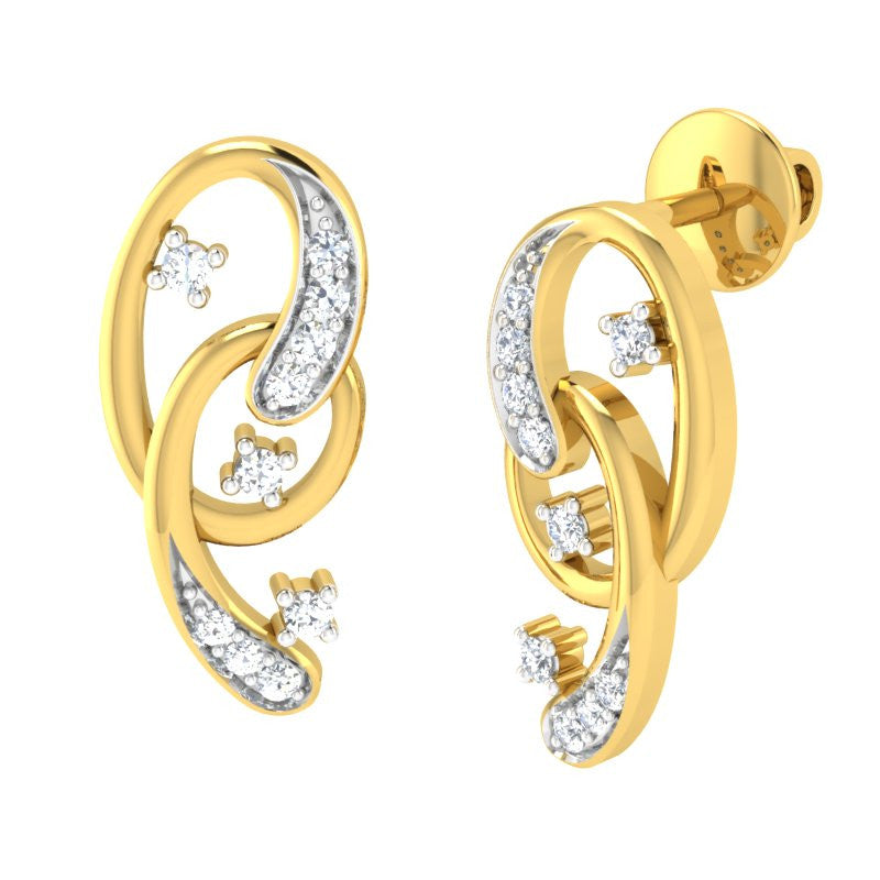 diamond studded gold jewellery - Malissa Earring Tops - Pristine Fire - 1