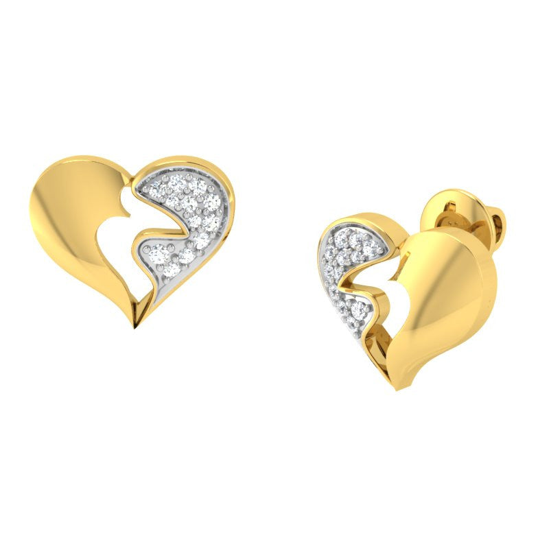 diamond studded gold jewellery - Riza Studs and Tops Earrings - Pristine Fire - 1