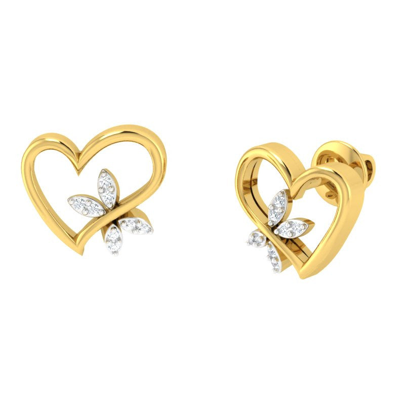 diamond studded gold jewellery - Annisha Studs and Tops Earrings - Pristine Fire - 1