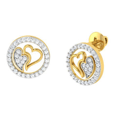 diamond studded gold jewellery - Danesha Studs and Tops Earrings - Pristine Fire - 1