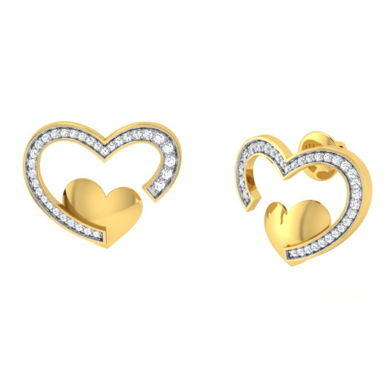 diamond studded gold jewellery - Yovela Studs and Tops Earrings - Pristine Fire - 1
