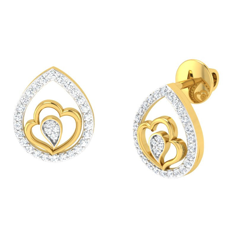 diamond studded gold jewellery - Kenenza Studs and Tops Earrings - Pristine Fire - 1