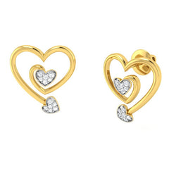diamond studded gold jewellery - Pascale Studs and Tops Earrings - Pristine Fire - 1