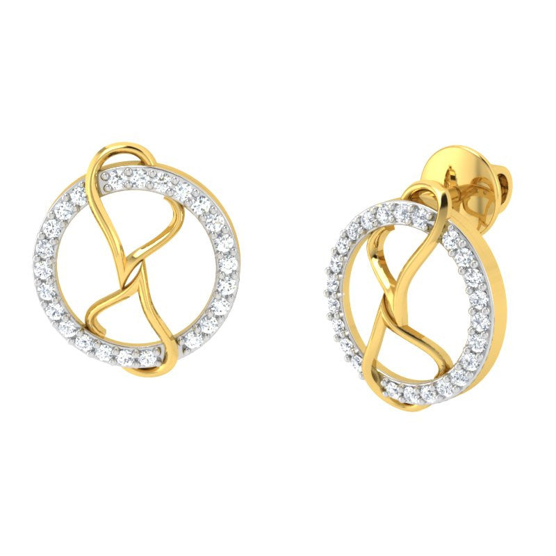 diamond studded gold jewellery - Catelynn Studs and Tops Earrings - Pristine Fire - 1