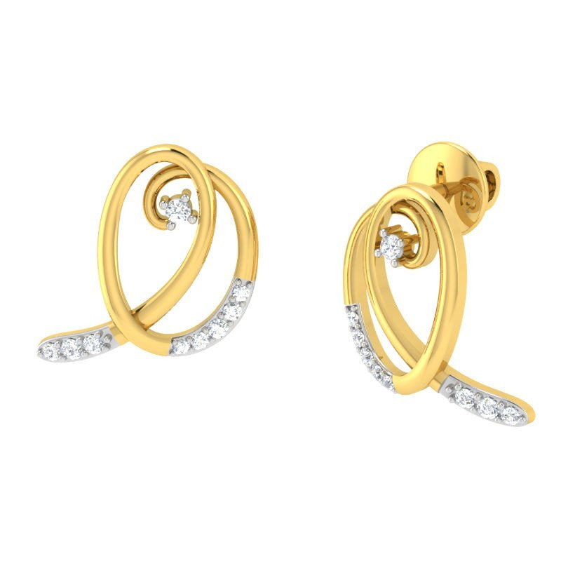 diamond studded gold jewellery - Kaylie Studs and Tops Earrings - Pristine Fire - 1