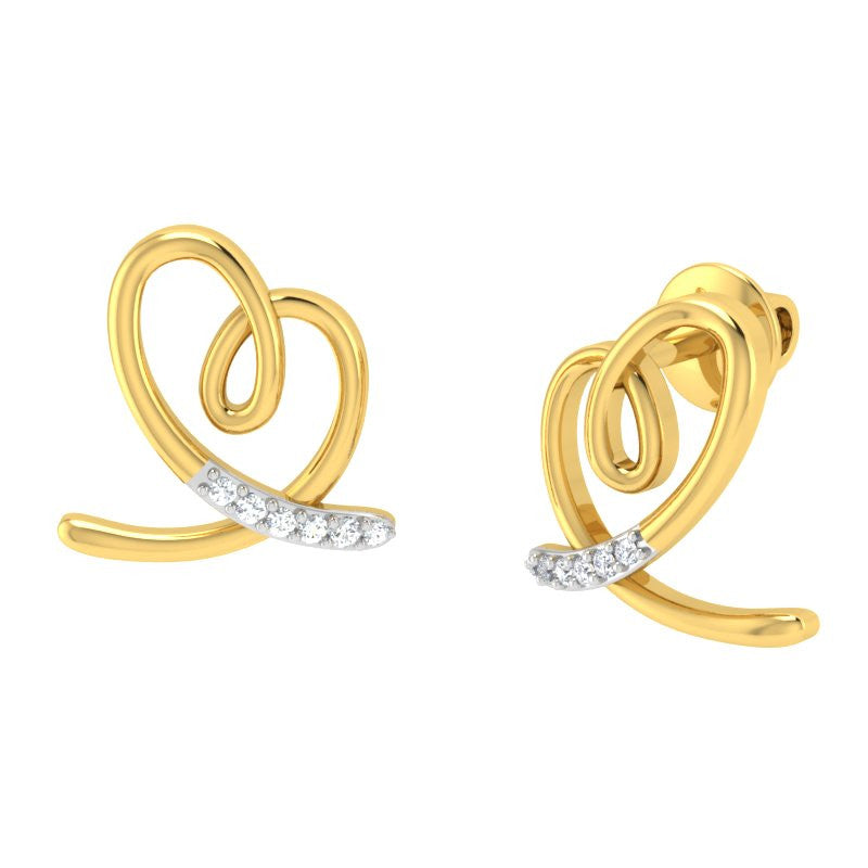 diamond studded gold jewellery - Jilli Studs and Tops Earrings - Pristine Fire - 1