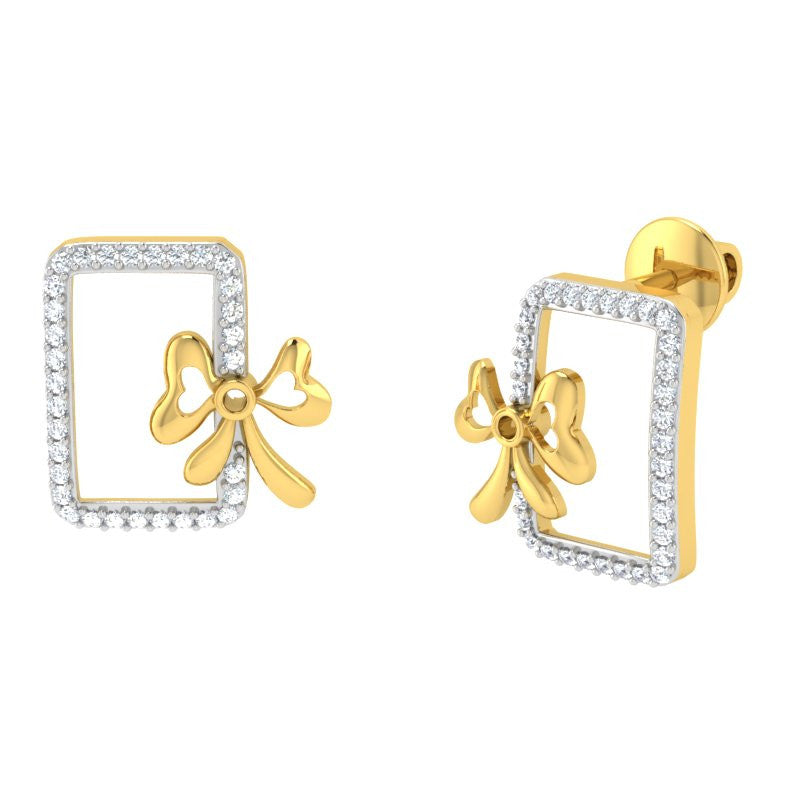 diamond studded gold jewellery - Bova Studs and Tops Earrings - Pristine Fire - 1