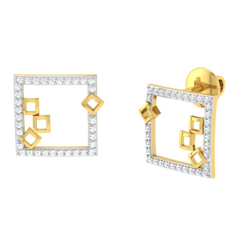 diamond studded gold jewellery - Mahala Studs and Tops Earrings - Pristine Fire - 1