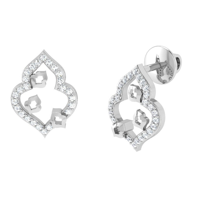 diamond studded gold jewellery - Kasha Studs and Tops Earrings - Pristine Fire - 1