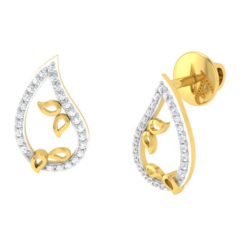 diamond studded gold jewellery - Ancelin Studs and Tops Earrings - Pristine Fire - 1