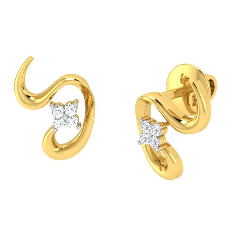 diamond studded gold jewellery - Jolee Studs and Tops Earrings - Pristine Fire - 1