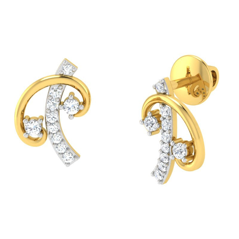 diamond studded gold jewellery - Chanell Studs and Tops Earrings - Pristine Fire - 1