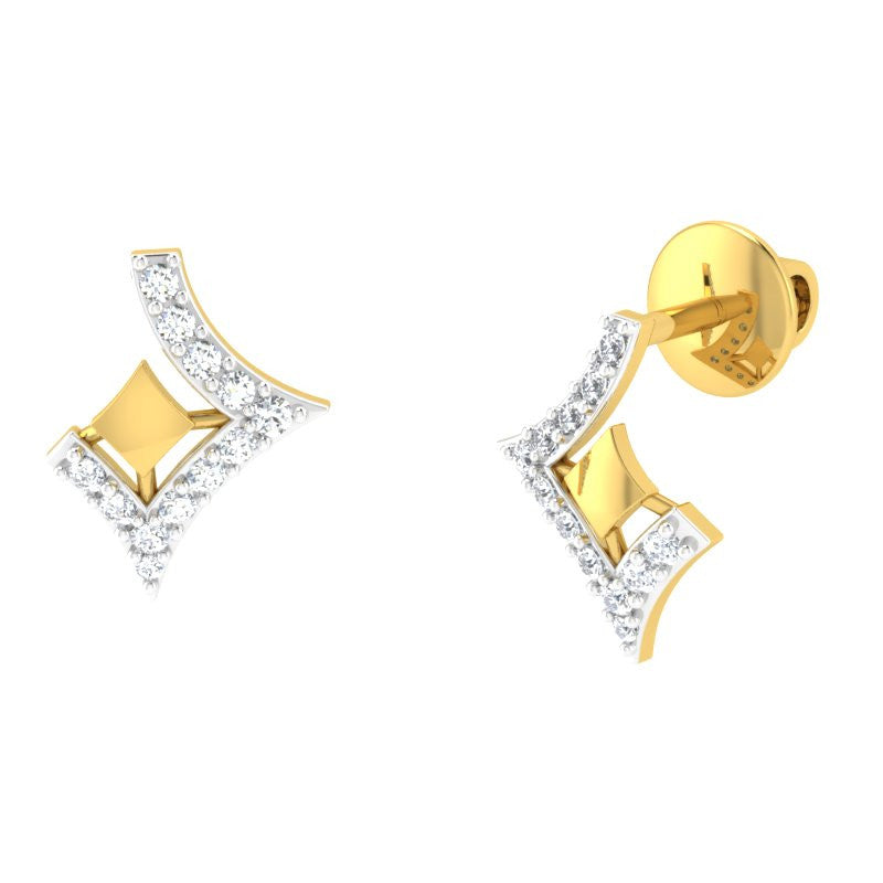 diamond studded gold jewellery - Karisa Studs and Tops Earrings - Pristine Fire - 1