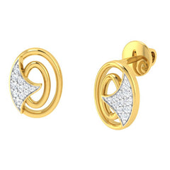 diamond studded gold jewellery - Jessalyn Studs and Tops Earrings - Pristine Fire - 1