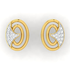 diamond studded gold jewellery - Jessalyn Studs and Tops Earrings - Pristine Fire - 2