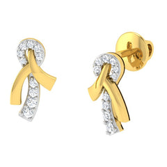 diamond studded gold jewellery - Sofia Studs and Tops Earrings - Pristine Fire - 1