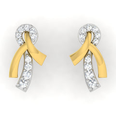 diamond studded gold jewellery - Sofia Studs and Tops Earrings - Pristine Fire - 2