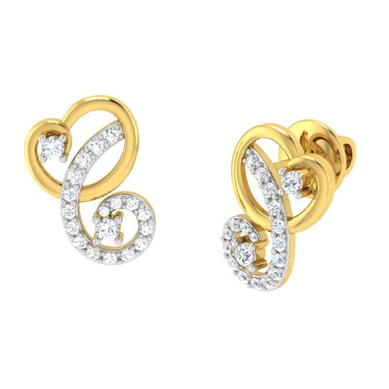 diamond studded gold jewellery - Ailani Studs and Tops Earrings - Pristine Fire - 1