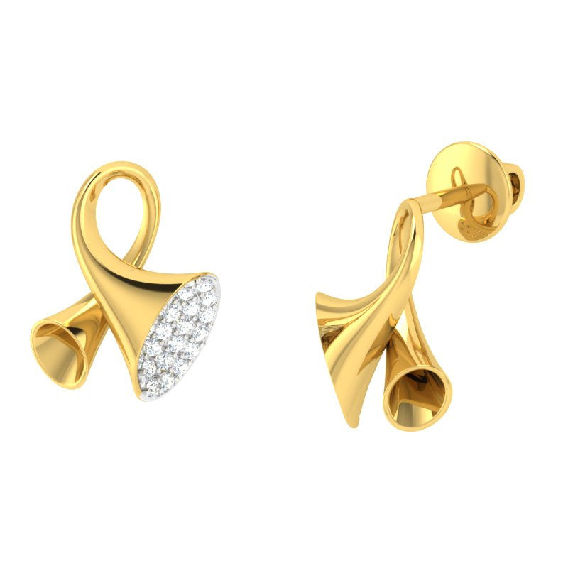 diamond studded gold jewellery - Earlene Studs and Tops Earrings - Pristine Fire - 1