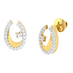 diamond studded gold jewellery - Kamea Studs and Tops Earrings - Pristine Fire - 1