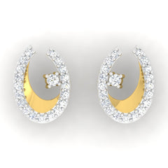 diamond studded gold jewellery - Kamea Studs and Tops Earrings - Pristine Fire - 2