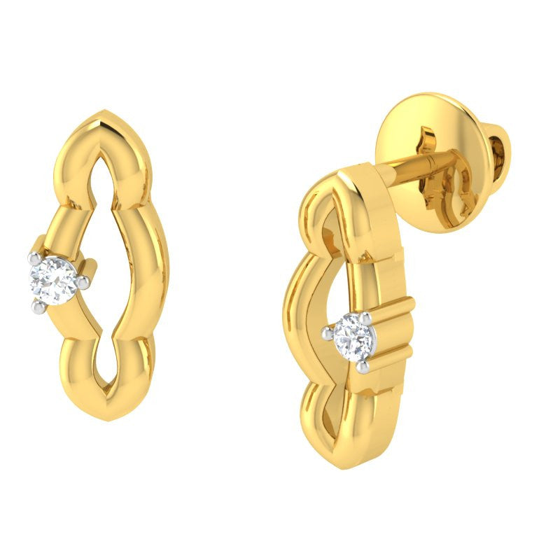 diamond studded gold jewellery - Shaye Studs and Tops Earrings - Pristine Fire - 1