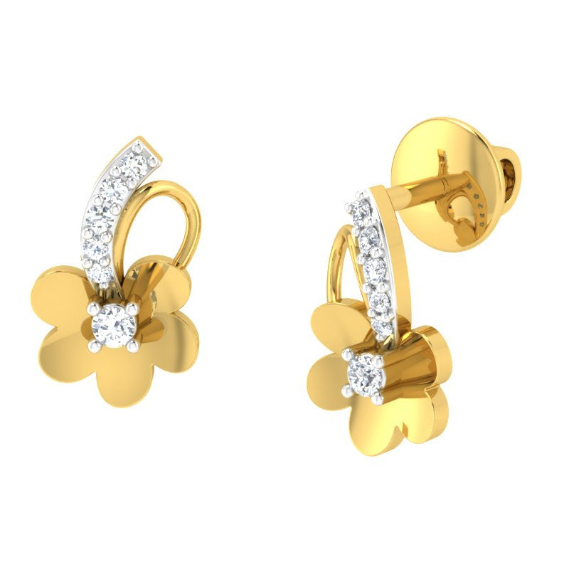 diamond studded gold jewellery - Tish Studs and Tops Earrings - Pristine Fire - 1
