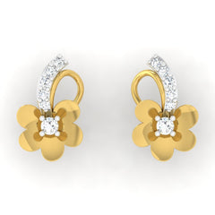 diamond studded gold jewellery - Tish Studs and Tops Earrings - Pristine Fire - 2