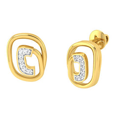 diamond studded gold jewellery - Larnelle Studs and Tops Earrings - Pristine Fire - 1
