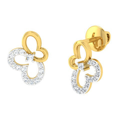 diamond studded gold jewellery - Afua Studs and Tops Earrings - Pristine Fire - 1