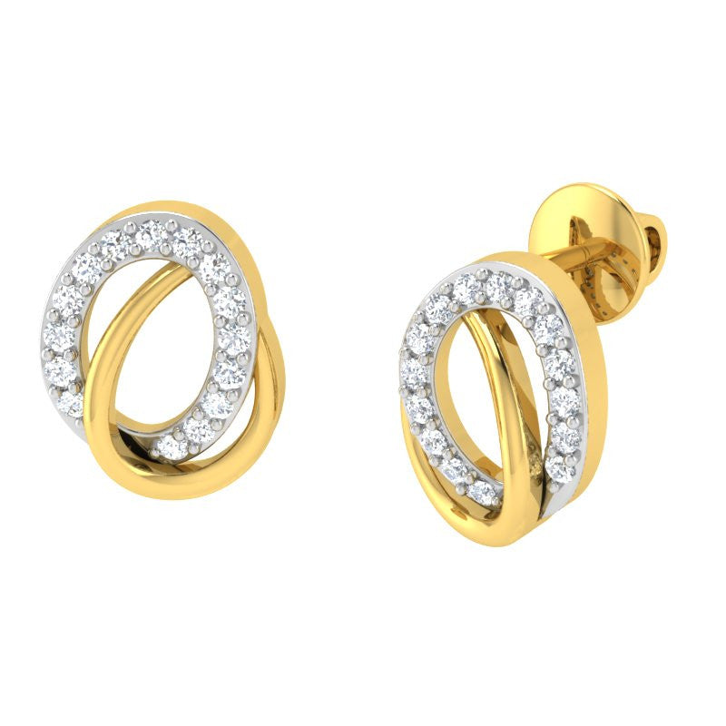 diamond studded gold jewellery - Sydnee Studs and Tops Earrings - Pristine Fire - 1