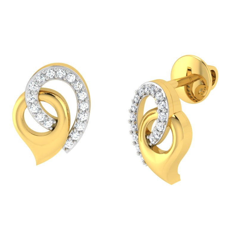 diamond studded gold jewellery - Mistie Studs and Tops Earrings - Pristine Fire - 1