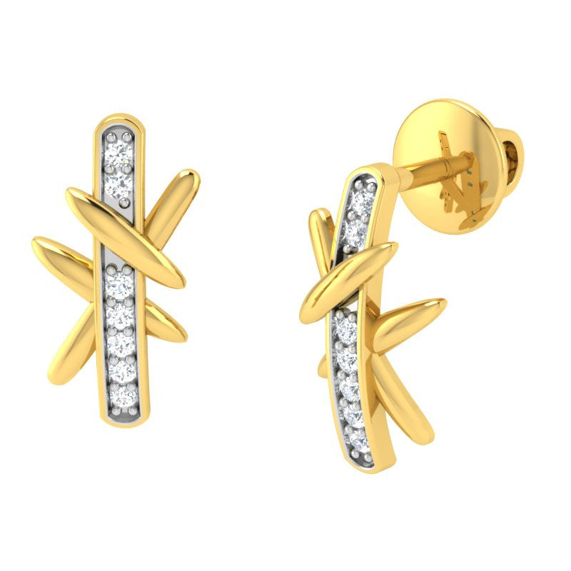 diamond studded gold jewellery - Djanira Studs and Tops Earrings - Pristine Fire - 1