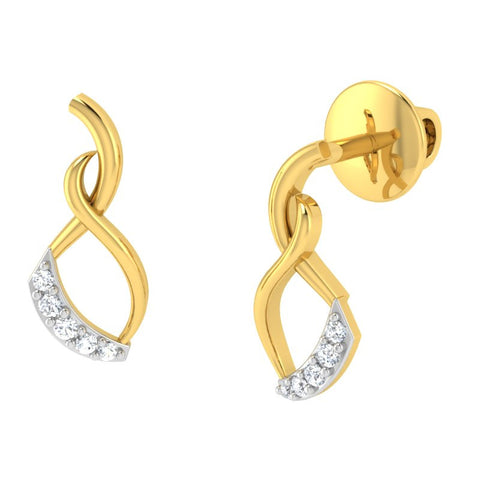 diamond studded gold jewellery - Palixena Studs and Tops Earrings - Pristine Fire - 1